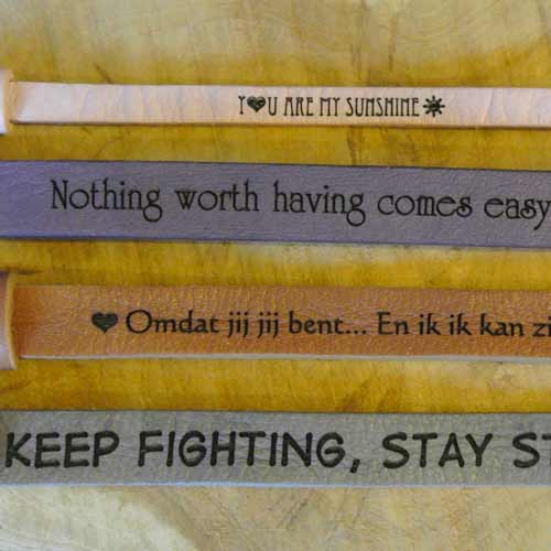 Dames armband leer met quote