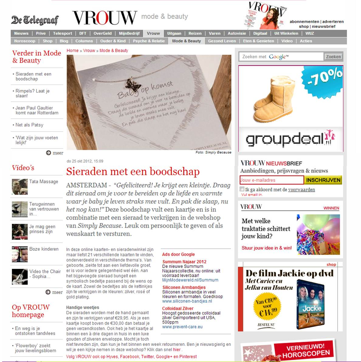 Simply Because in VROUW Telegraaf